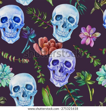 Retro seamless watercolor pattern skull and succulent plants, flowers - stock vector