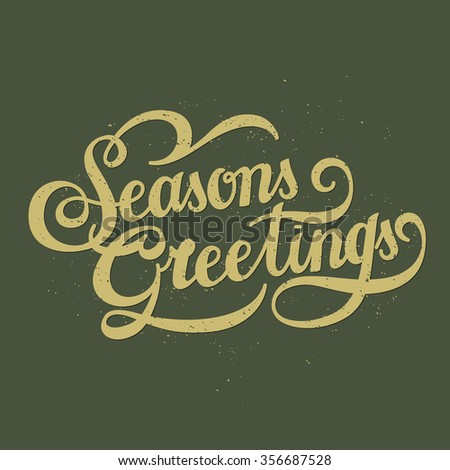 retro seasons greetings calligraphy with decorative line