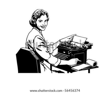Retro Secretary - Retro Clip Art - stock vector