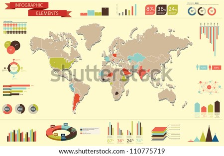 Retro set elements infographics world map vectores en stock retro set elements of infographics world map and information graphics gumiabroncs Image collections