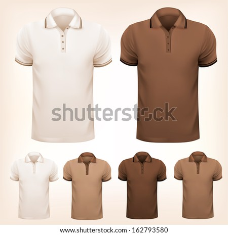 Retro set of colorful men t-shirts. Design template. Vector illustration  - stock vector