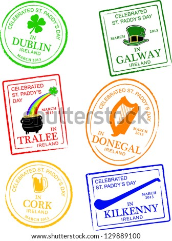 Retro Set of Fun Passport Style St. Patrick's Day Stamps Vector Illustration - stock vector