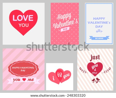 Retro Set of Happy Valentines Day and Wedding Cards - Vector Illustration - stock vector