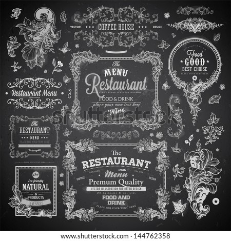 Retro set of labels for restaurant menu design. Vintage floral frames with antique flowers. Engraving hand drawn style. Detailed elements. Vector eps10 illustration. Chalkboard version. - stock vector