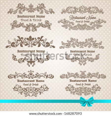 Retro set of labels for restaurant menu. Vector vintage baroque engraving floral scroll filigree design
