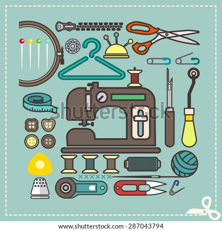 Retro set of sewing and needlework icons, Vector illustration. - stock vector