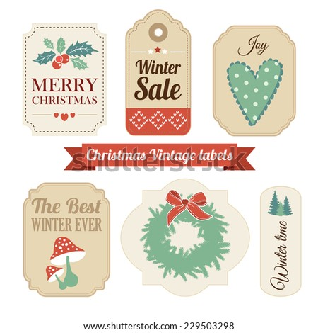Retro set of winter christmas vintage gift and sale labels, tags, stickers vector illustration - stock vector