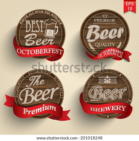 Retro set styled label of beer. Good as a template of advertisement. Vector. - stock vector