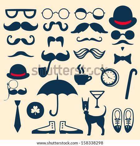 Retro set with mustache, glasses, hats, umbrella and others - stock vector