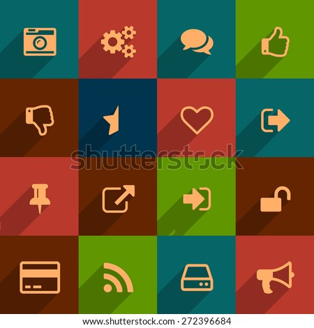 Retro shaded dark icons set for your product - stock vector