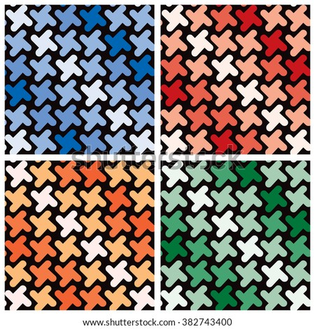 Retro Shapes Pattern in four colorways repeats seamlessly. Grouped by color. - stock vector