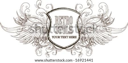 Retro shield - stock vector