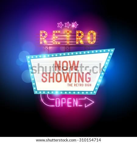 Retro Showtime Sign.  - stock vector