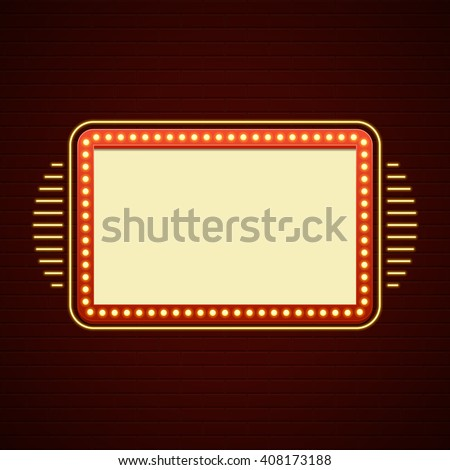 Retro Showtime Sign Design. Cinema Signage Light Bulbs Billboard Frame and Neon Lamps on brick wall background. 1850s Signboard Style Vector Illustration.