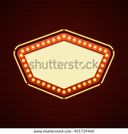 Retro Showtime Sign Design. Cinema Signage Light Bulbs Signage Billboard Frame and Neon Lamps on brick wall background.  - stock vector