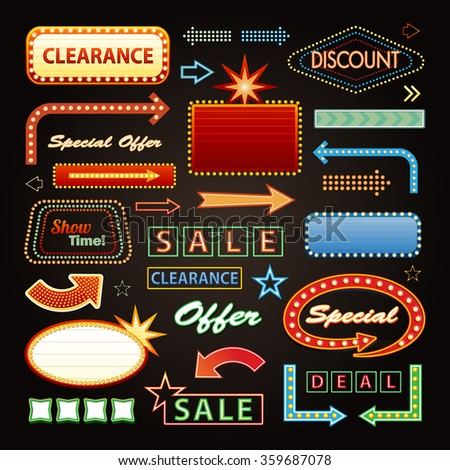 Retro Showtime Signs Design Elements and Bright Billboard Signage Light Bulbs frame and arrows - stock vector