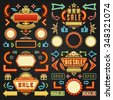 Retro Showtime Signs Design Elements Set. Bright Billboard Signage Light Bulbs, Frames, Arrows, Icons and Neon Lamps. American advertisement style vector illustration.