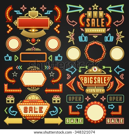 Retro Showtime Signs Design Elements Set. Bright Billboard Signage Light Bulbs, Frames, Arrows, Icons and Neon Lamps. American advertisement style vector illustration. - stock vector