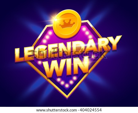 Retro sign with lamp Legendary Win banner. Vector illustration design with poker, playing cards, slots and roulette. - stock vector