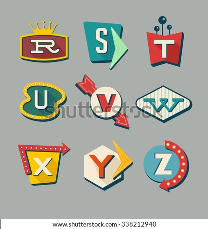 Retro signs alphabet. Letters on vintage style signs. Alphabet reminiscent of 1950s roadside signs. - stock vector