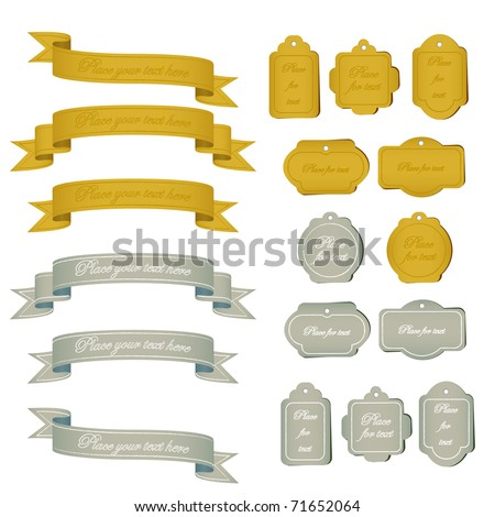 Retro Silver and Gold Tags and Banners - stock vector