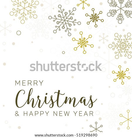 Retro Simple Christmas Card With Golden Snowflakes On White Background