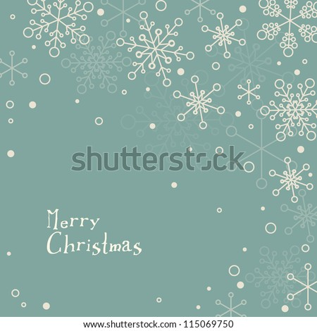 Retro simple Christmas card with white snowflakes on blue background - stock vector