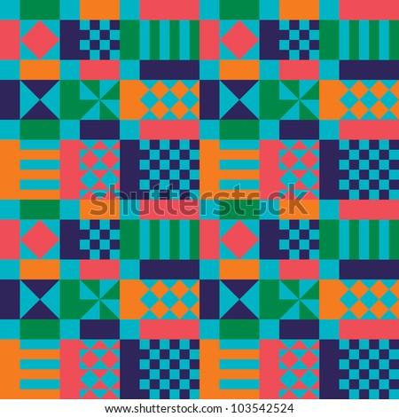 Retro Sixties Geometric Pattern - stock vector