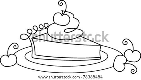 Retro Slice Cherry Pie On Plate Stock Vector 76368484 ...