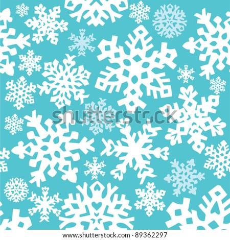 Retro snowflake seamless background - stock vector