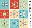Retro snowflakes, Christmas decoration - stock vector