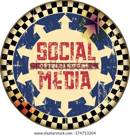 retro social media sign,vector,fictional artwork - stock vector