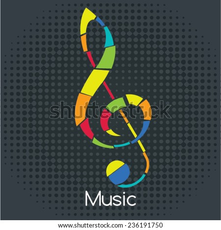 Retro Sol Key, Vector illustration. Musical symbols for poster design. Colored music instrument vector graphic.  - stock vector