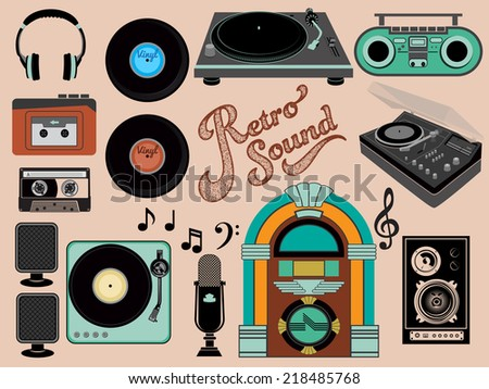 Retro Sound - Set of music-related objects and clip art, including vintage gramophones, juke box, walkman, vinyl records, retro speakers, boom box and cassette tape  - stock vector