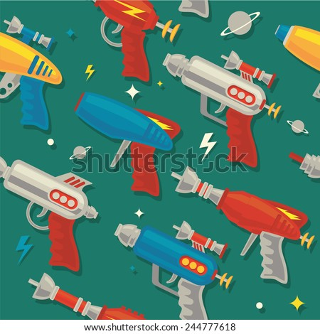 retro Space gun/ray gun seamless pattern - stock vector