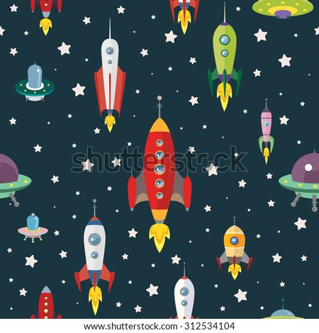 retro space pattern - stock vector