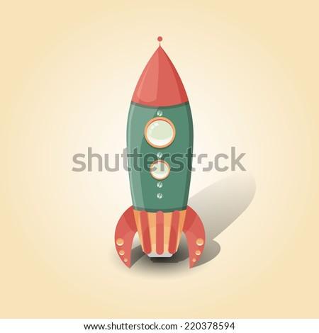 Retro Spaceship vector poster template. - stock vector