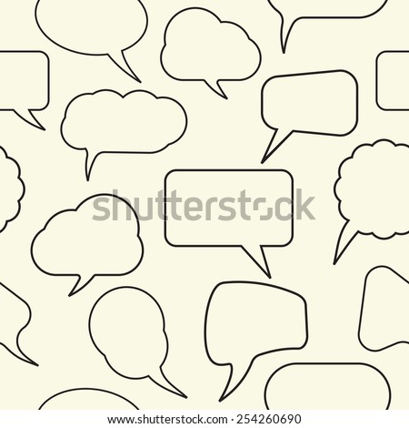 Retro speak bubbles seamless pattern - stock vector