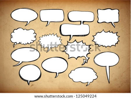 Retro speech bubbles on the grungy background. Vector Illustration. - stock vector