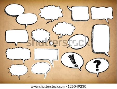 Retro speech bubbles on the grungy background. Vector Illustration. - stock vector
