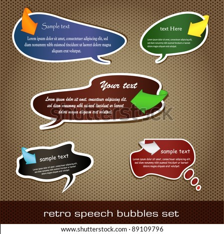 retro speech bubbles set. vector illustration - stock vector
