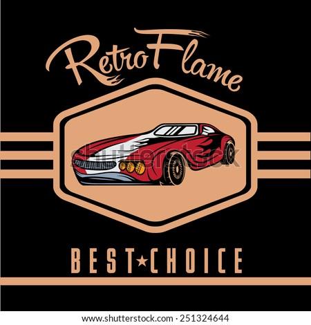 retro sport car old vintage poster - stock vector