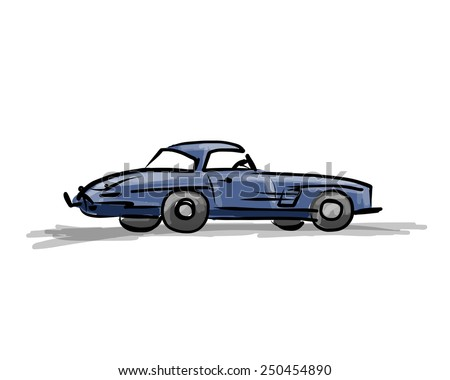 Retro sport car sketch for your design. Vector illustration - stock vector