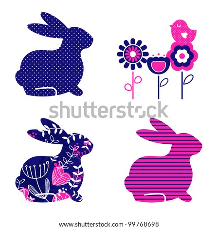 Retro spring & easter elements isolated on white - stock vector