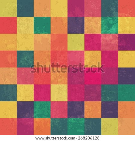 Retro square colorful vintage seamless vector background - stock vector