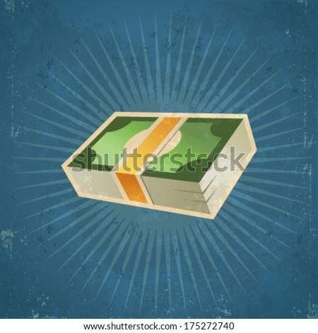 Retro Stack Dollar Bills  - stock vector