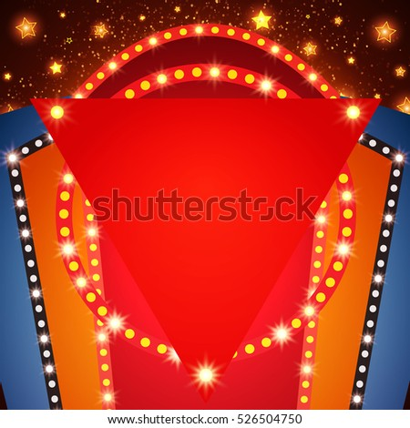 Retro stage shining banner background. Vector illustration