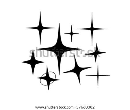 Retro Stars 5 - Retro Clip Art - stock vector