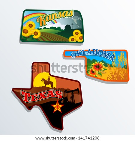 Retro state shape illustrations of Kansas, Oklahoma, and Texas - stock vector