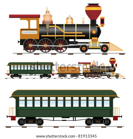 Retro steam train with coach (vector illustration isolated on white background) - stock vector